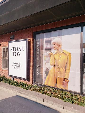 vintage storefront kelowna bc stone fox yellow 1960's coat blnde model