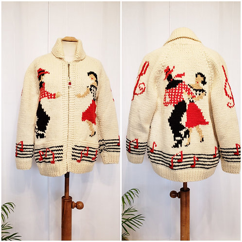 Hand knit Vintage Square Dancing Sweater Coat