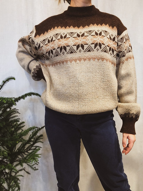 Vintage Snowflake Knit Sweater
