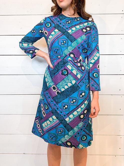 60's Selfridges Mod Print Dress