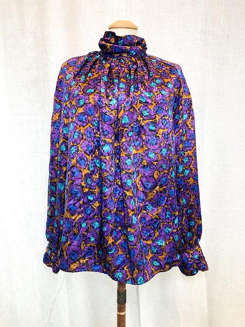 Vintage Purple High Neck Blouse