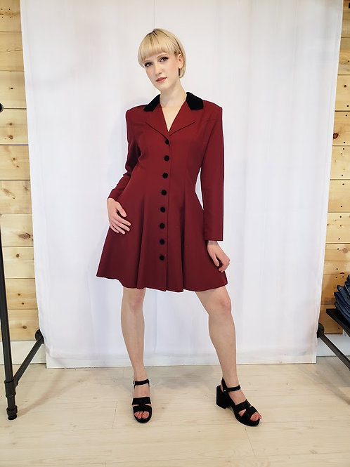 90's Le Chateau Burgundy Flared Tux Dress/Jacket