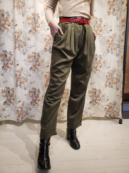 Classic Khaki Pleated Trousers
