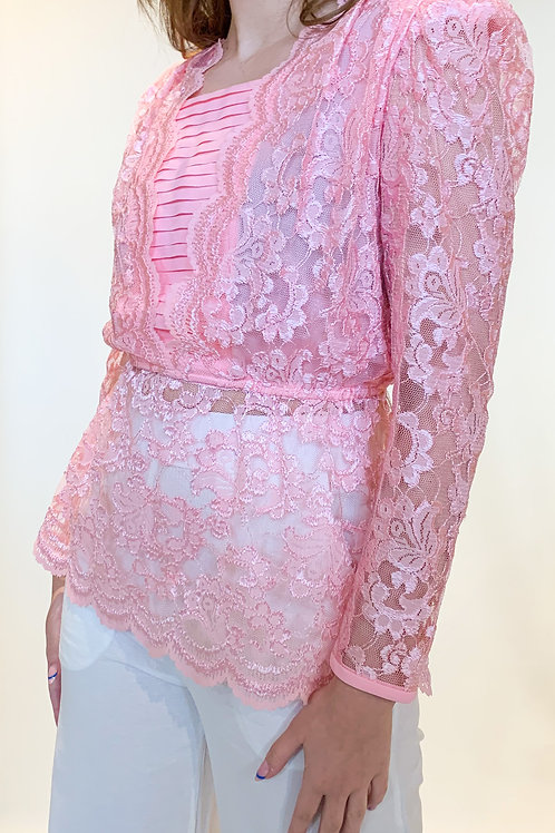 80's Pink Lace Top
