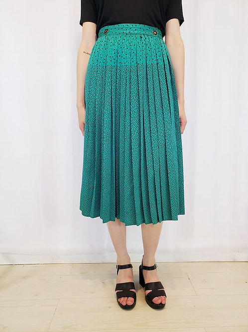 80's Green Dot Pleated Skirt