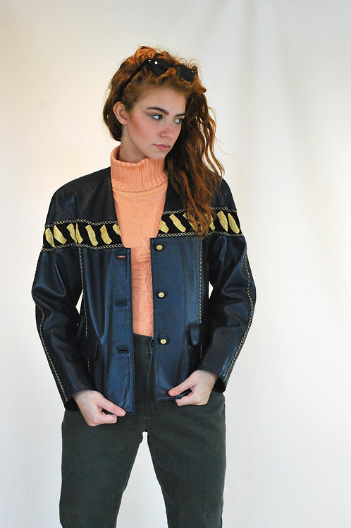 Navy and Gold Leather Jacket
