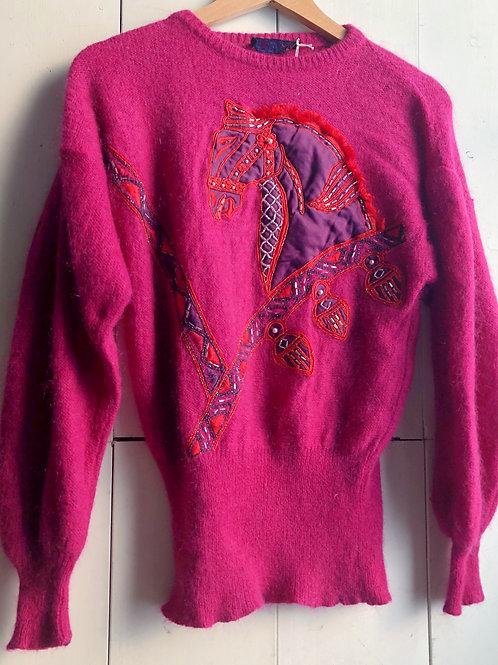 80's Escada Horse Applique Sweater