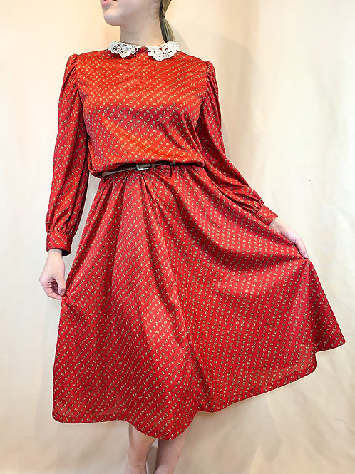 Vintage Red Paisley Dress
