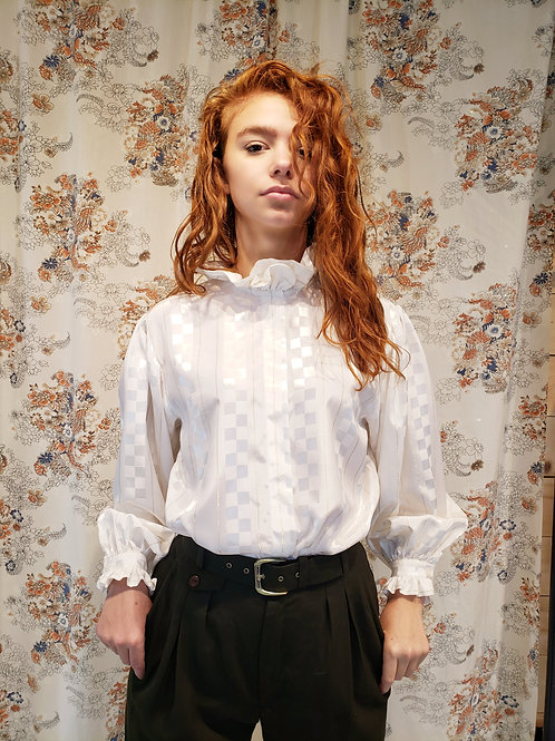 80's Chagall White Ruffles blouse