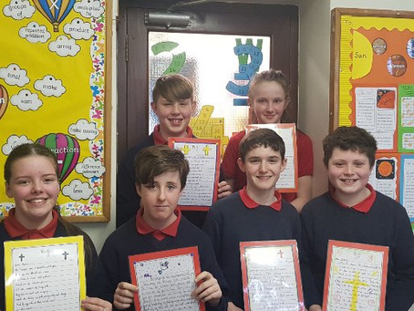 Some of our 6th class were busy writing letters to their Confirmation sponsors