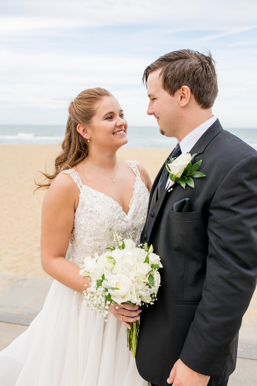 Beach Wedding, Smiling Bride, Oceanaire Resort in Virginia Beach Virginia