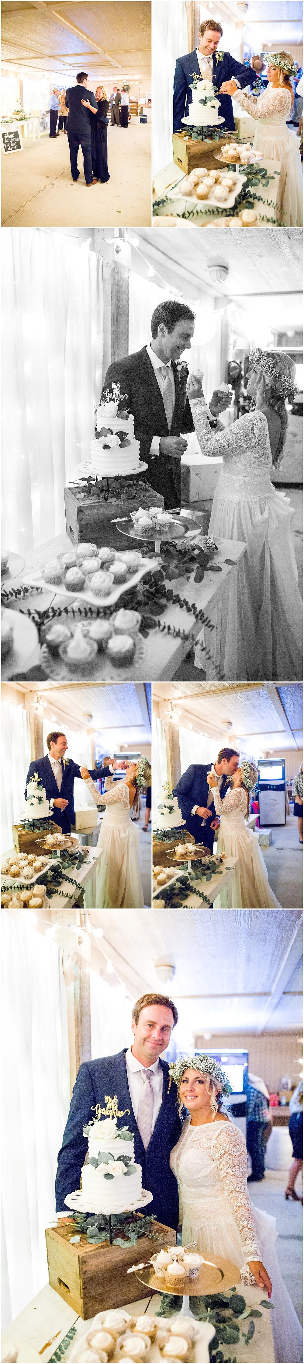 Bride and Groom cut the cake, North Carolina Wedding