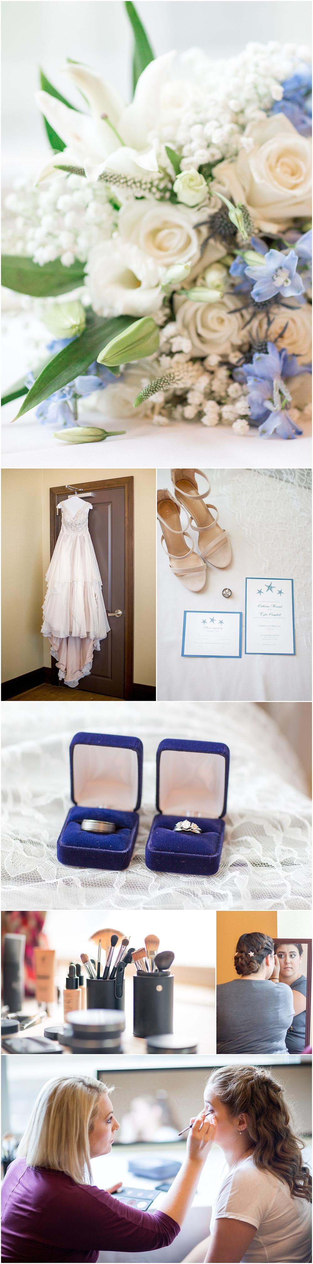 Wedding flowers, wedding dress, invitations, shoes, wedding rings, bridal makeup