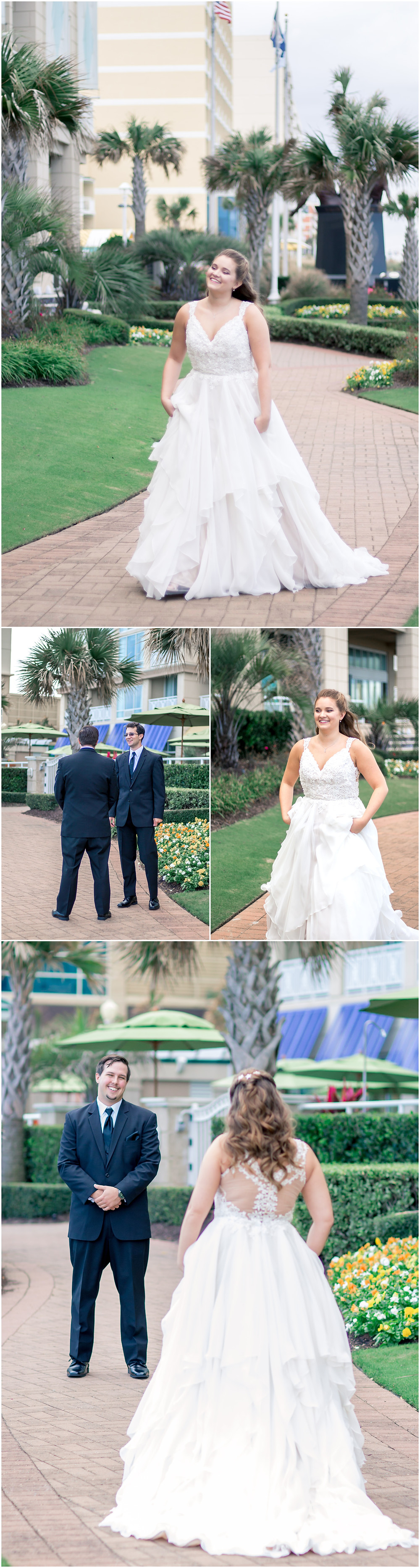 Bride and Groom have First Look outside wedding venue