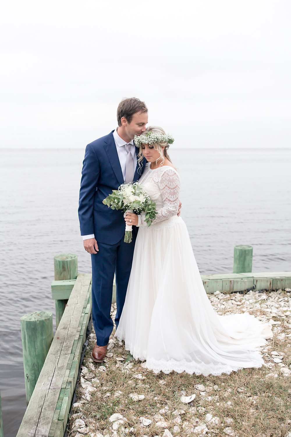 Bride and Groom on Currituck Sound Waterfront, North Carolina