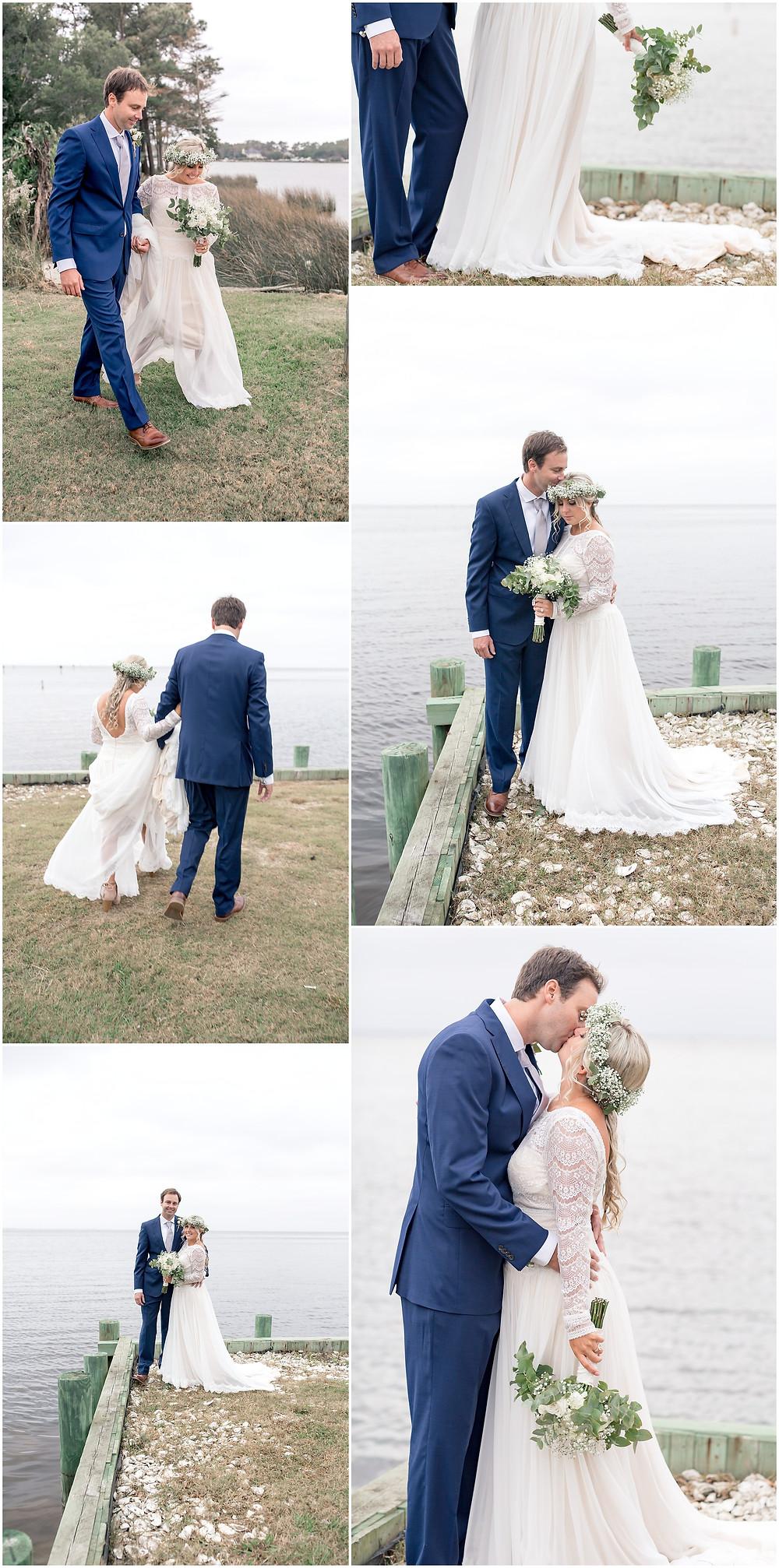 Bride and Groom Portraits, Waterfront Bridal Portraits, North Carolina Wedding