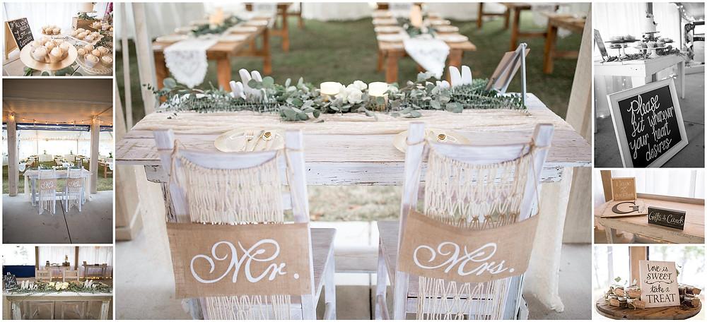 Wedding Reception tables, Outdoor Waterfront Wedding Ceremony, North Carolina Wedding
