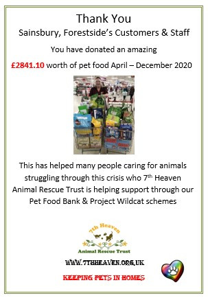 Thank you Sainsbury's Forestside customers & staff Dec 20