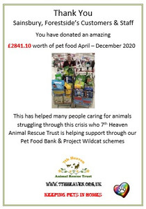 Thank you Sainsbury's Forestside customers & staff Dec 20