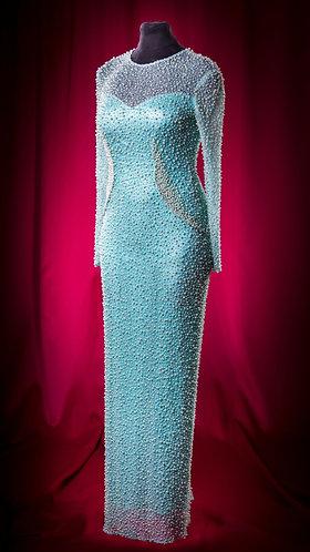 Платье вечернее нежно-бирюзовое с росшивом.  DressTheatre Couture by Dora Blank