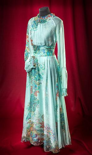 Блуза и длинная юбка из голубого шифона с рисунком.  DressTheatre Couture