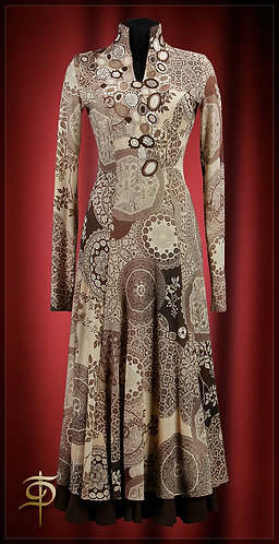Jersey dress long, wool Etro, with the decor of the lace.