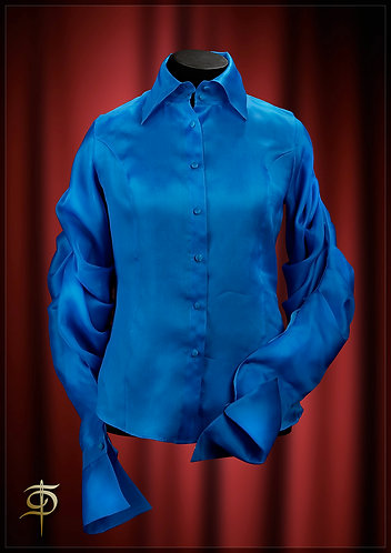 Blouse from organza with pleats on the sleeves. DressTheatre Couture