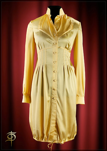 The dress-shirt made from yellow Satin silk. DressTheatre Couture by Dora Blank