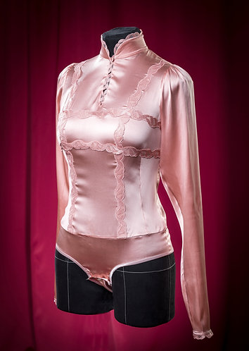 Body blouse made of rose satin silk with lace DressTheatre Couture by Dora Blank