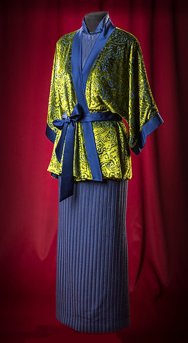 Suit of silk jacquard and cape from silk pan-velvet DressTheatre