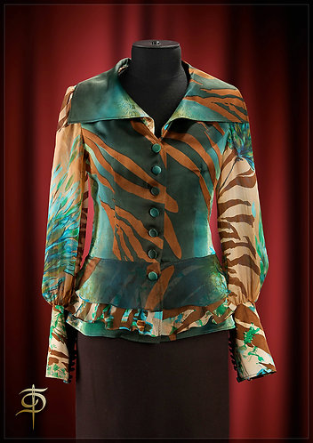 Blouse with multi-layered bass of satin silk and chiffon. DressTheatre Couture