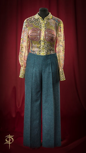 Dark turquoise wool pants DressTheatre Couture