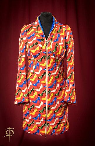 Пальто стеганое из бархата на молнии   DressTheatre Couture by Dora Blank