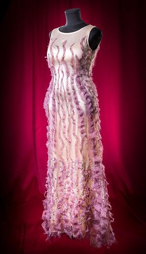 Платье шелковое с ручным декором из органзы. DressTheatre Couture by Dora Blank