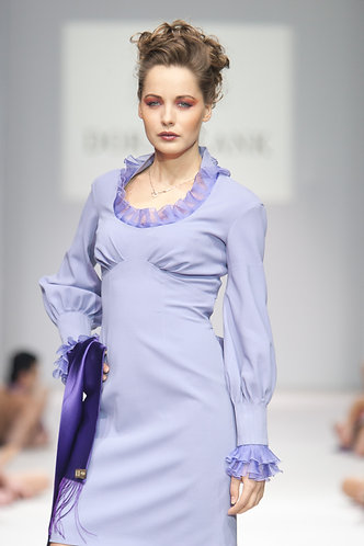Dress made of Holland&Sherry wool with organza trim
