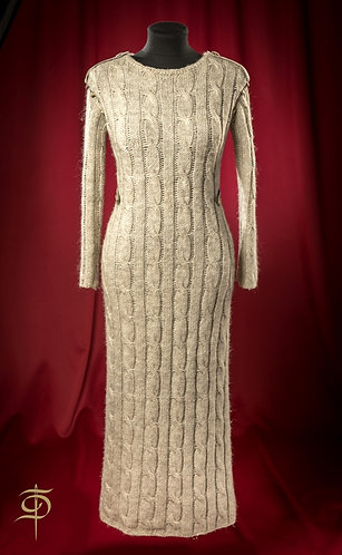 Light grey knitted dress with seude decor DressTheatre Couture