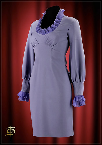 A dress made of wool with an organza decor. DressTheatre Couture