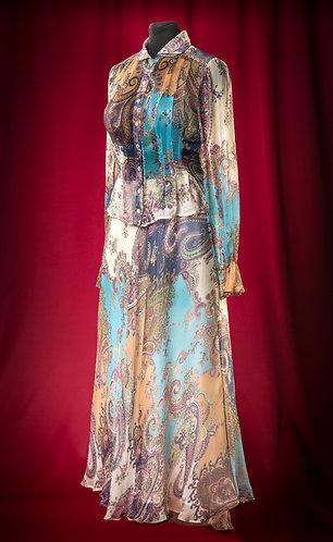 """Блузка и длинная юбка из шифона с рисунком """"Пейсли"""".  DressTheatre Couture"""