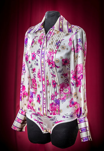 Body blouse made of pattern satin silk with folds DressTheatre Couture