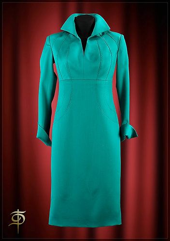 A turquoise dress made of wool with hand-trimmDressTheatre Couture by Dora Blank