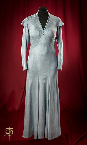 Grey-blue eco-breeding long dress DressTheatre Couture