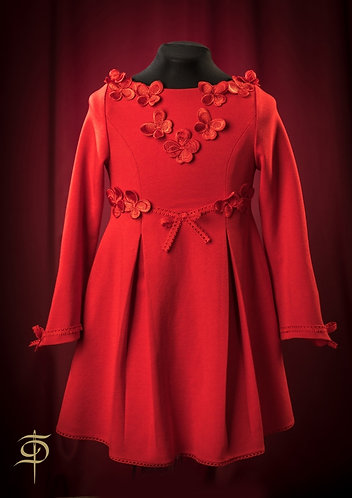 Red wool dress with lace decoration for the girl DressTheatre Couture