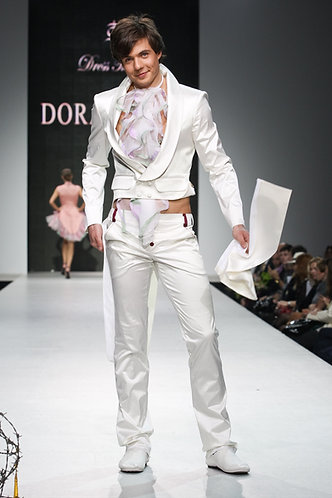 Wedding costume: a coat with a jabot, trousers. Silk with cotton, historical cut