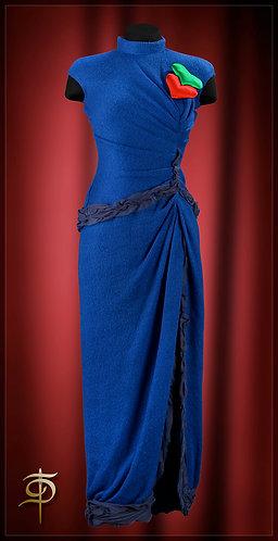 Evening dress made of woolen knitwear with chiffon trim.