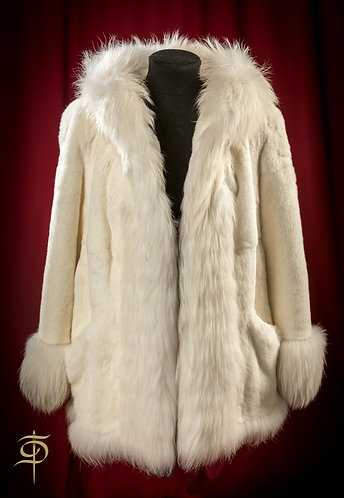 White mink fur coat with arctic fox decoraton DressTheatre Couture