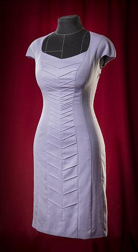 Платье сиреневое из шерсти с защипами. DressTheatre Couture by Dora Blank