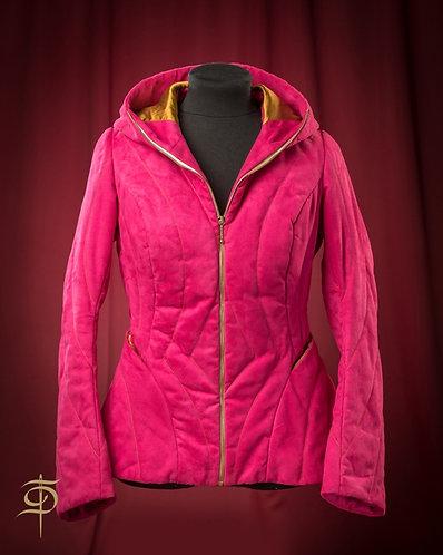 Куртка стеганая фуксия из эко-замши на молнии DressTheatre Couture by Dora Blank