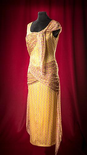 Платье длинное желтое из шелка и шифона с драппировками.  DressTheatre Couture