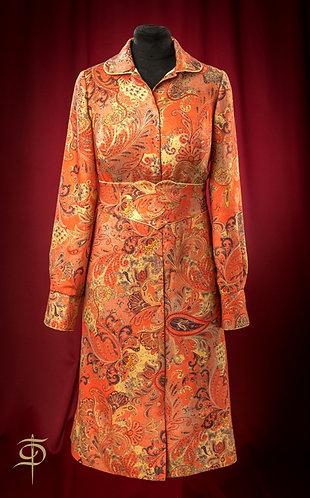 Silk orange dress with pattern and belt DressTheatre Couture