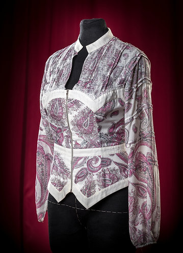 Blouse made of pattern silk muslin with lace DressTheatre Couture